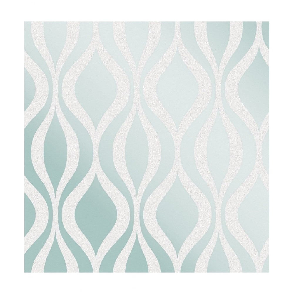 Fine Decor Monaco Teal Wave Geometric Glitter Wallpaper
