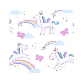 Pink And Purple Girls Unicorn Rainbow Wallpaper FD41922