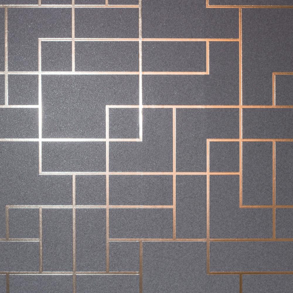 Fine Decor Platinum Brown Rose Gold Metallic Foil Square Geometric Wallpaper Fd42492