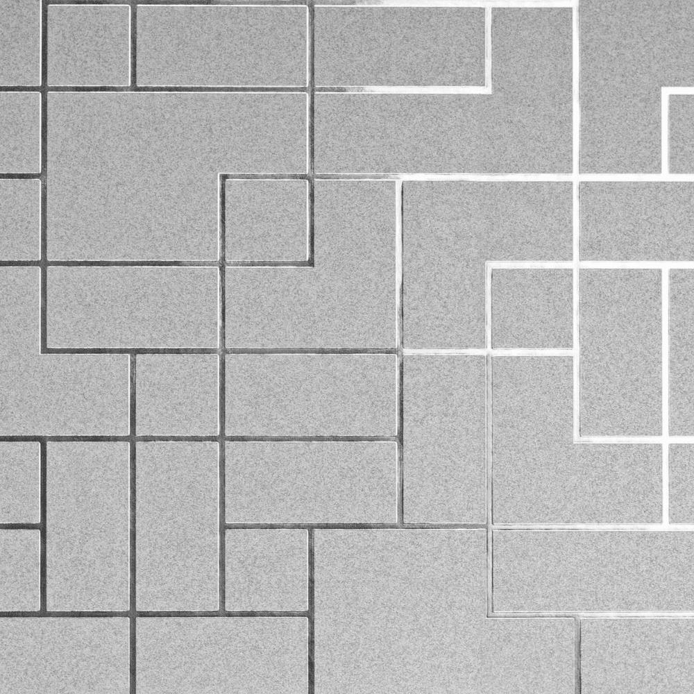 Fine Decor Platinum Silver Grey Metallic Foil Square Geometric Wallpaper Fd42491
