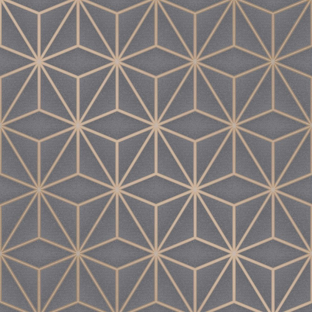 16 Rose Gold And Copper Details For Stylish Interior Decor: Fine Decor Pulse Star Charcoal & Copper Cube Geometric
