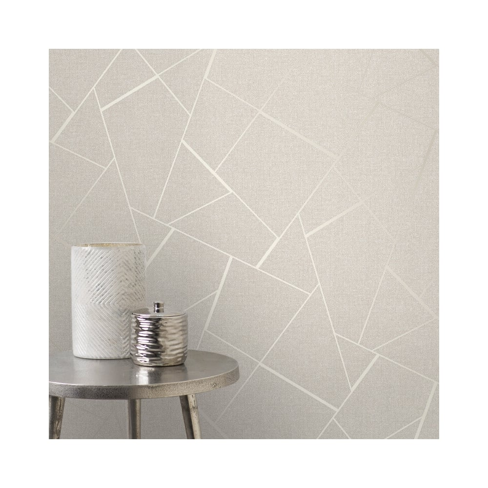 Quartz Cream Metallic Apex Geometric Wallpaper Fd