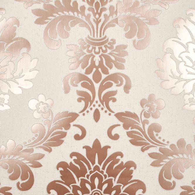 Fine Decor Quartz Rose Gold Glitter Damask Wallpaper