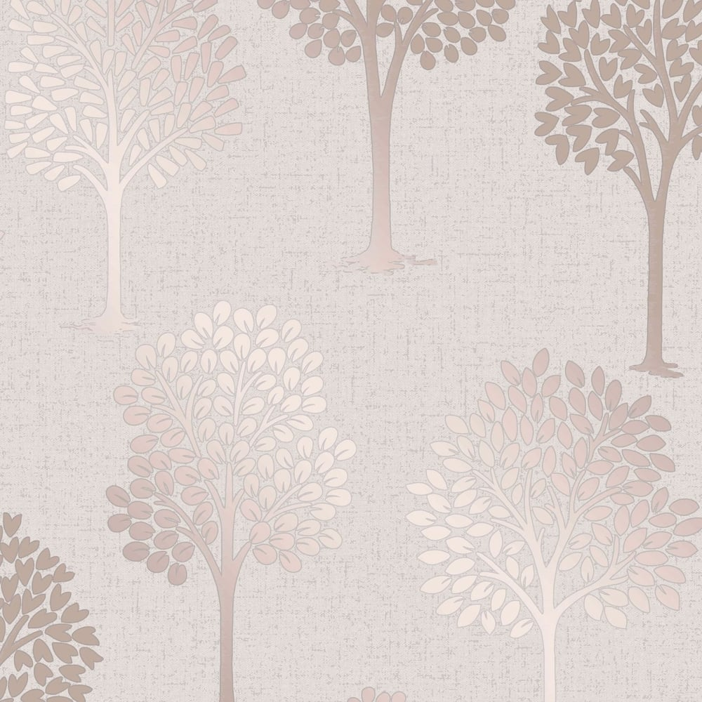 Fine Decor Quartz Rose Gold Glitter Tree Wallpaper Fd42208
