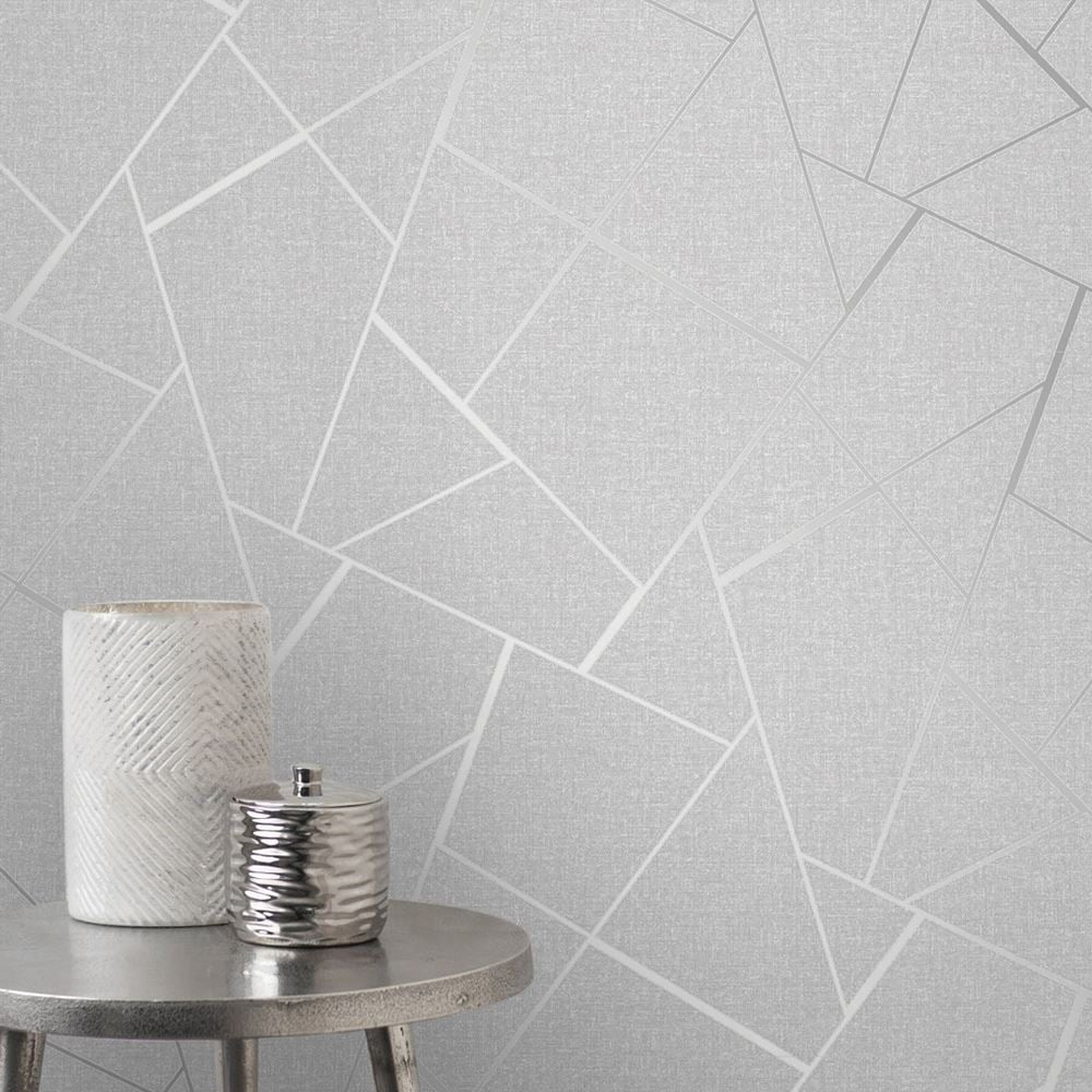 Fine Decor Quartz Silver Metallic Apex Geometric Wallpaper