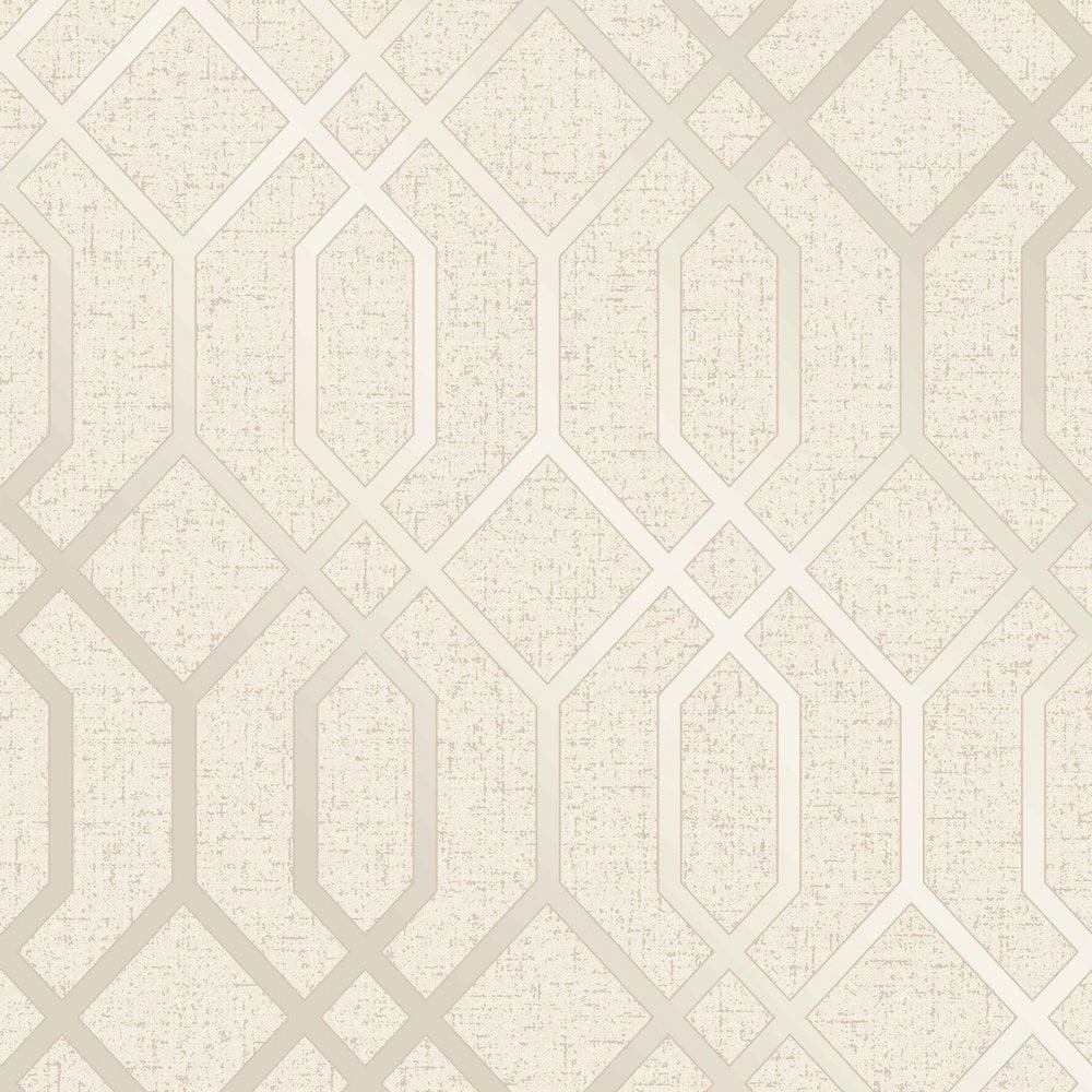 Fine Decor Quartz Trellis Gold Cream Geometric Metallic Wallpaper