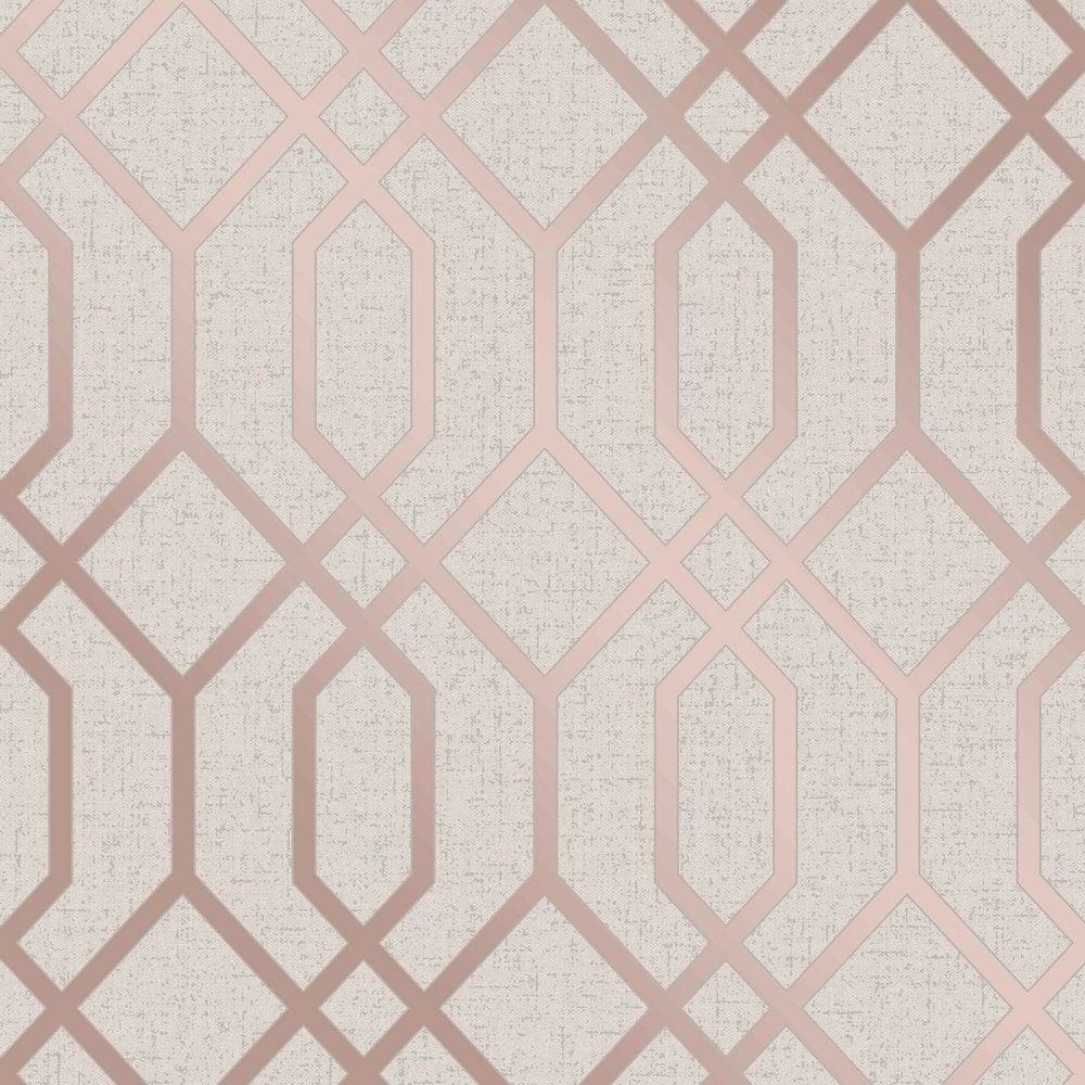 Fine Decor Quartz Trellis Rose Gold Cream Geometric Metallic
