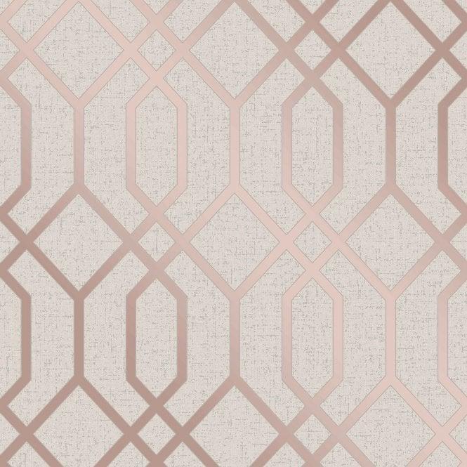 Fine Decor Quartz Trellis Rose Gold Amp Cream Geometric