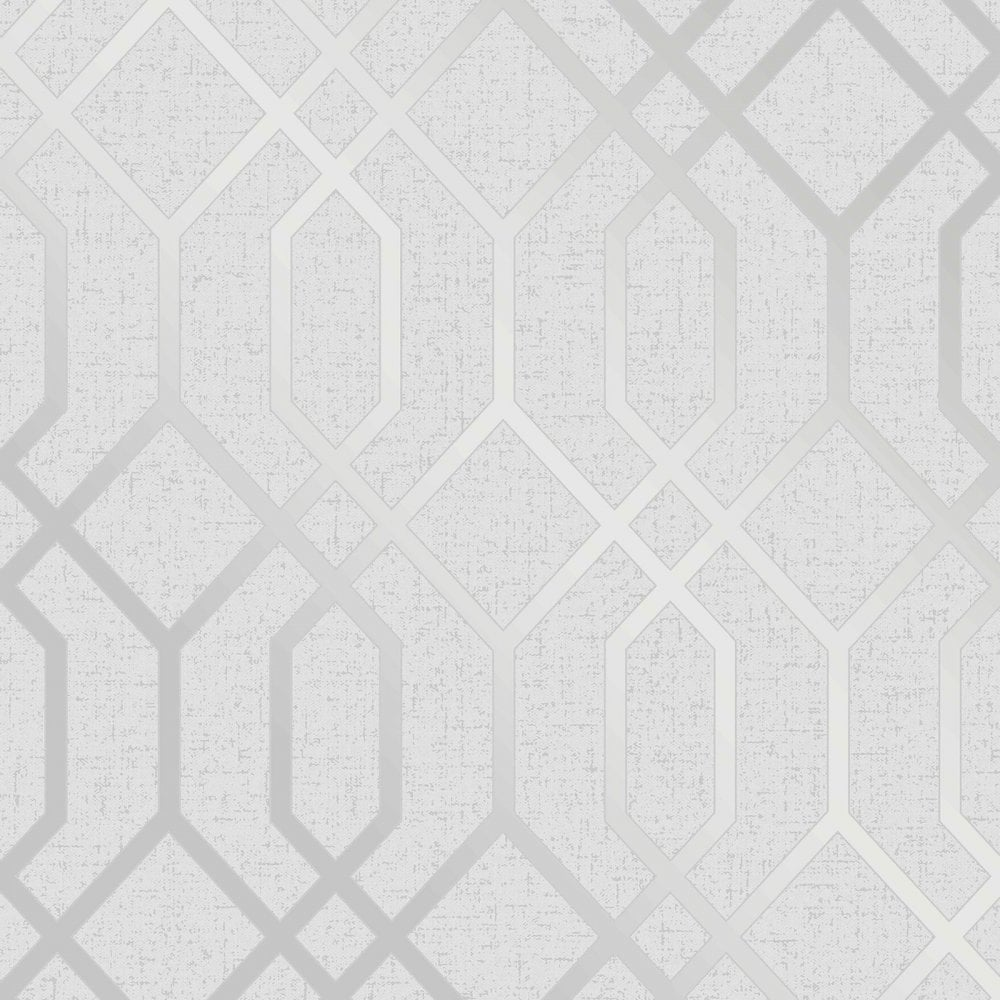 Silver Trellis Wallpaper: Fine Decor Quartz Trellis Silver & Grey Geometric Metallic