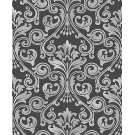 Wentworth Black And Silver Damask Glitter Wallpaper FD41700