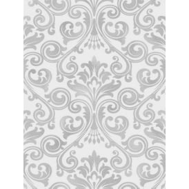 Wentworth Grey Damask Glitter Wallpaper FD41703
