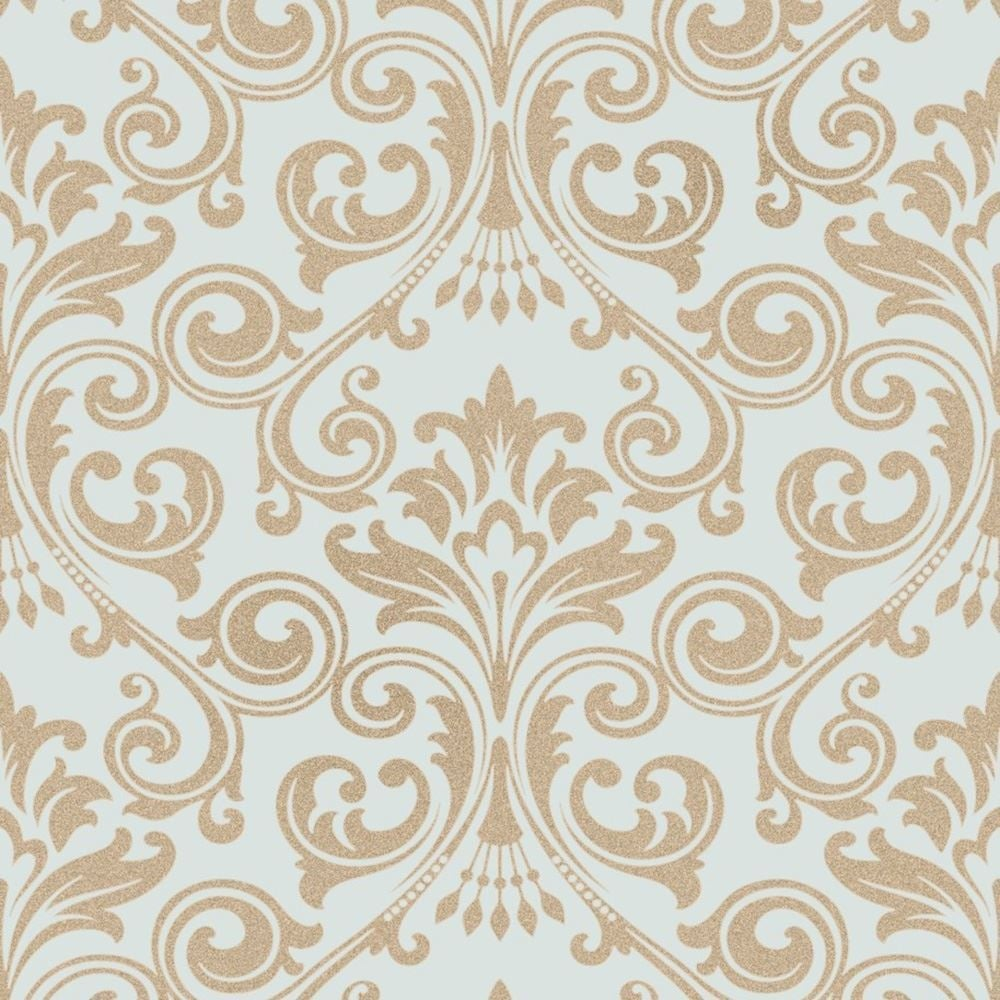 Fine Decor Wentworth Teal And Gold Damask Glitter Wallpaper