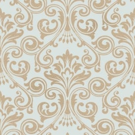 Wentworth Teal And Gold Damask Glitter Wallpaper FD41709
