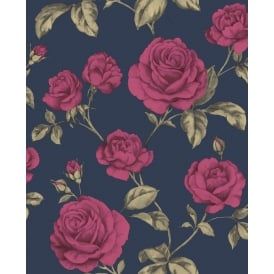 Boutique Countess Blue Gold And Pink Roses Floral Wallpaper 104135