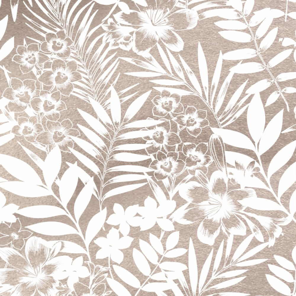 Boutique Tropical Metallic Rose Gold Palm Springs Floral Leaf Wallpaper 105139