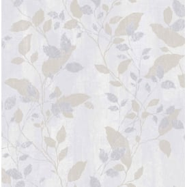 Boutique Vermeil Metallic Floral Grey Silver And Gold Leaf Wallpaper 104050