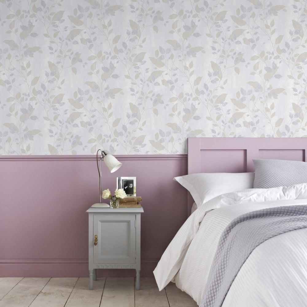 Graham Brown Boutique Vermeil Metallic Floral Grey Silver And Gold Leaf Wallpaper 104050