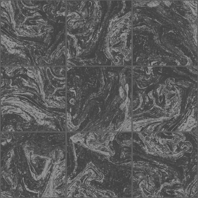 Graham And Brown Contour Black Marble Tile Glitter Kitchen And Bathroom Wallpaper 104880