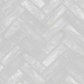 Contour Lustro Silver Herringbone Brick Gloss Kitchen Bathroom Wallpaper 103919