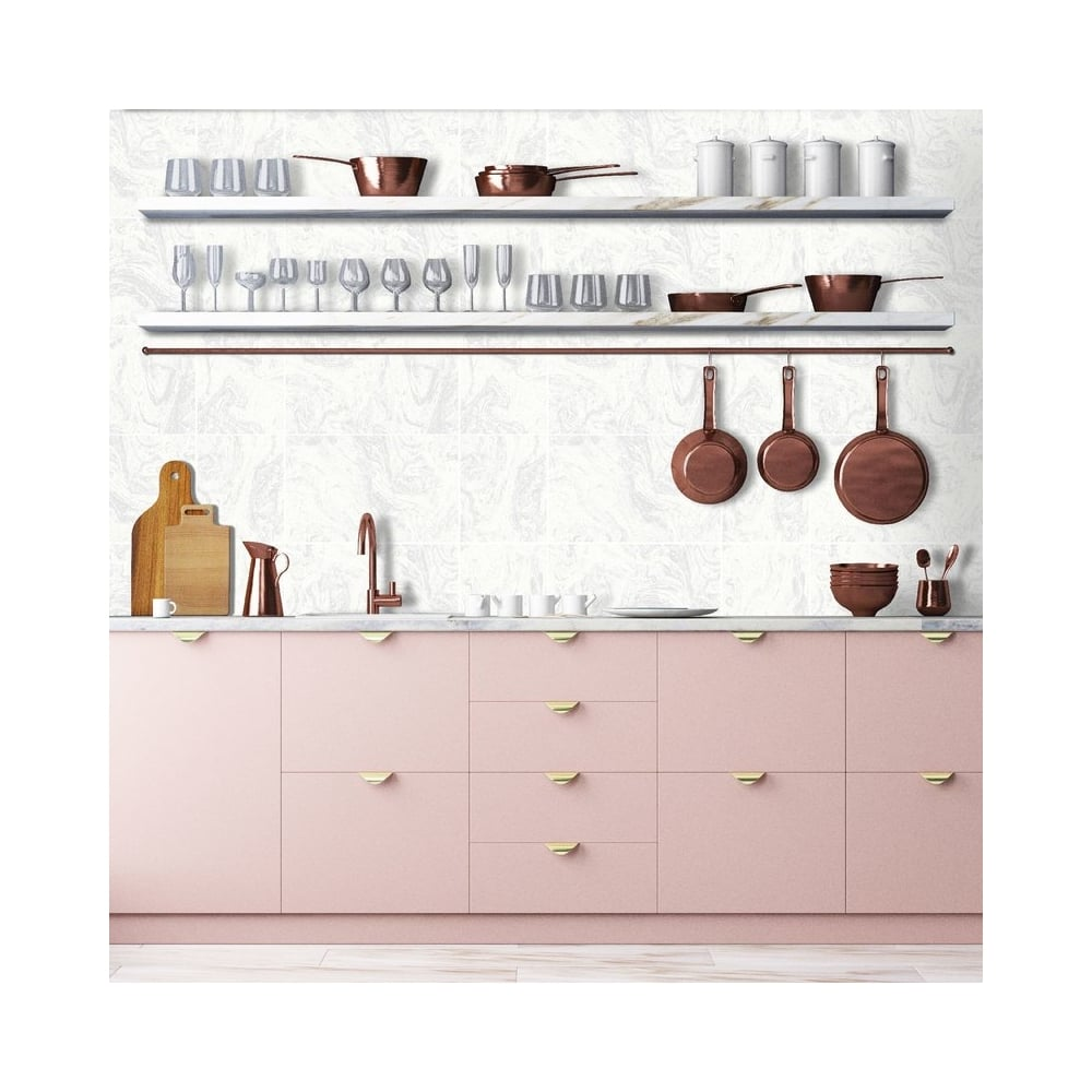 Graham Brown Contour White Marble Tile Glitter Kitchen And