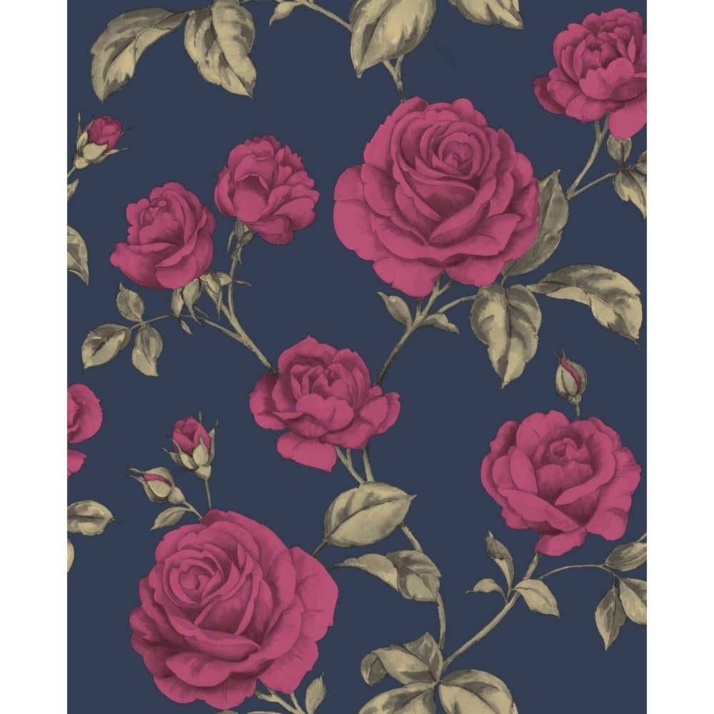 Graham And Brown Countess Navy Blue Gold And Pink Floral