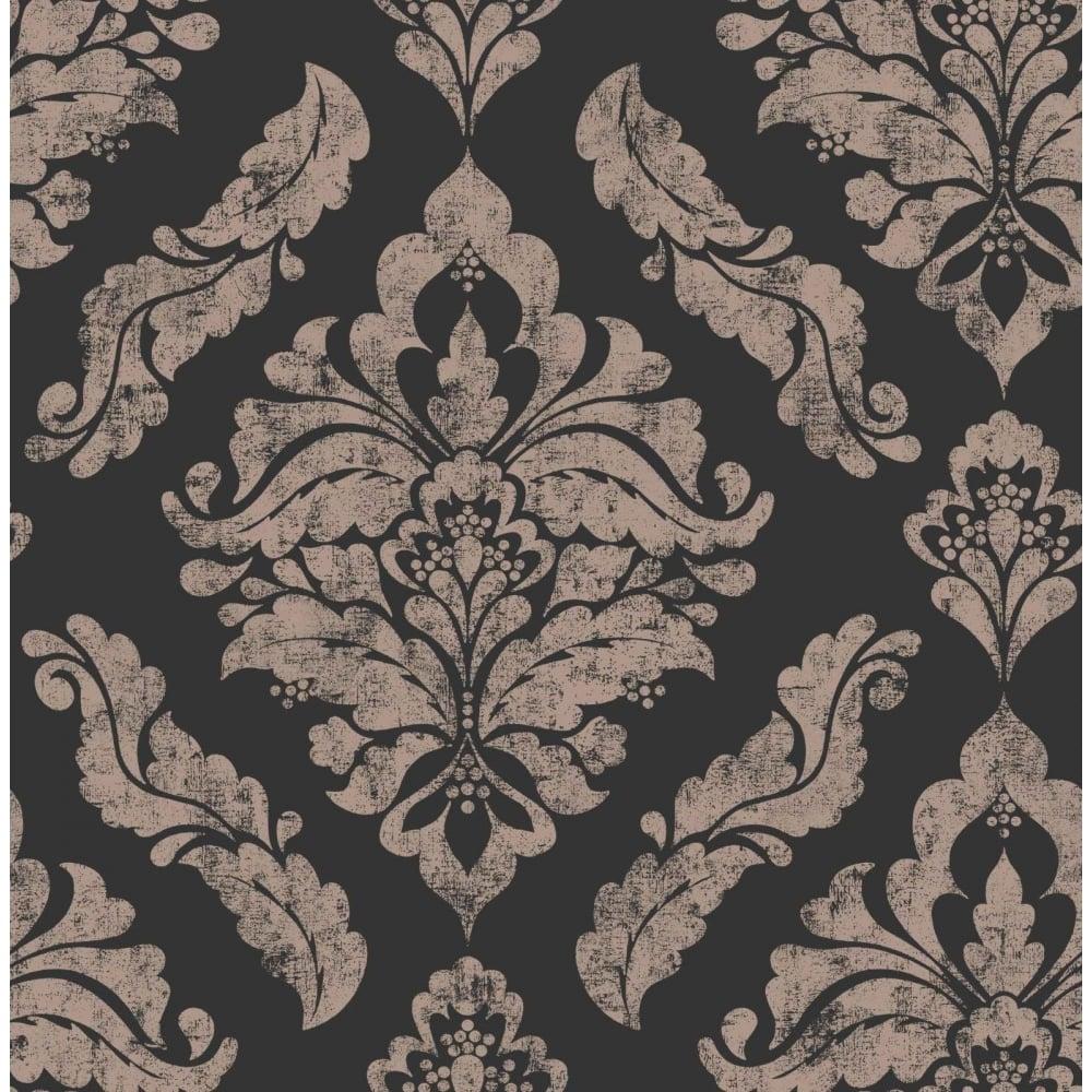Graham Brown Damaris Black And Copper Damask Wallpaper 104262