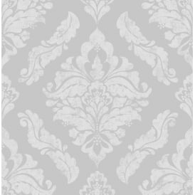 Damaris Silver Damask Wallpaper 104259