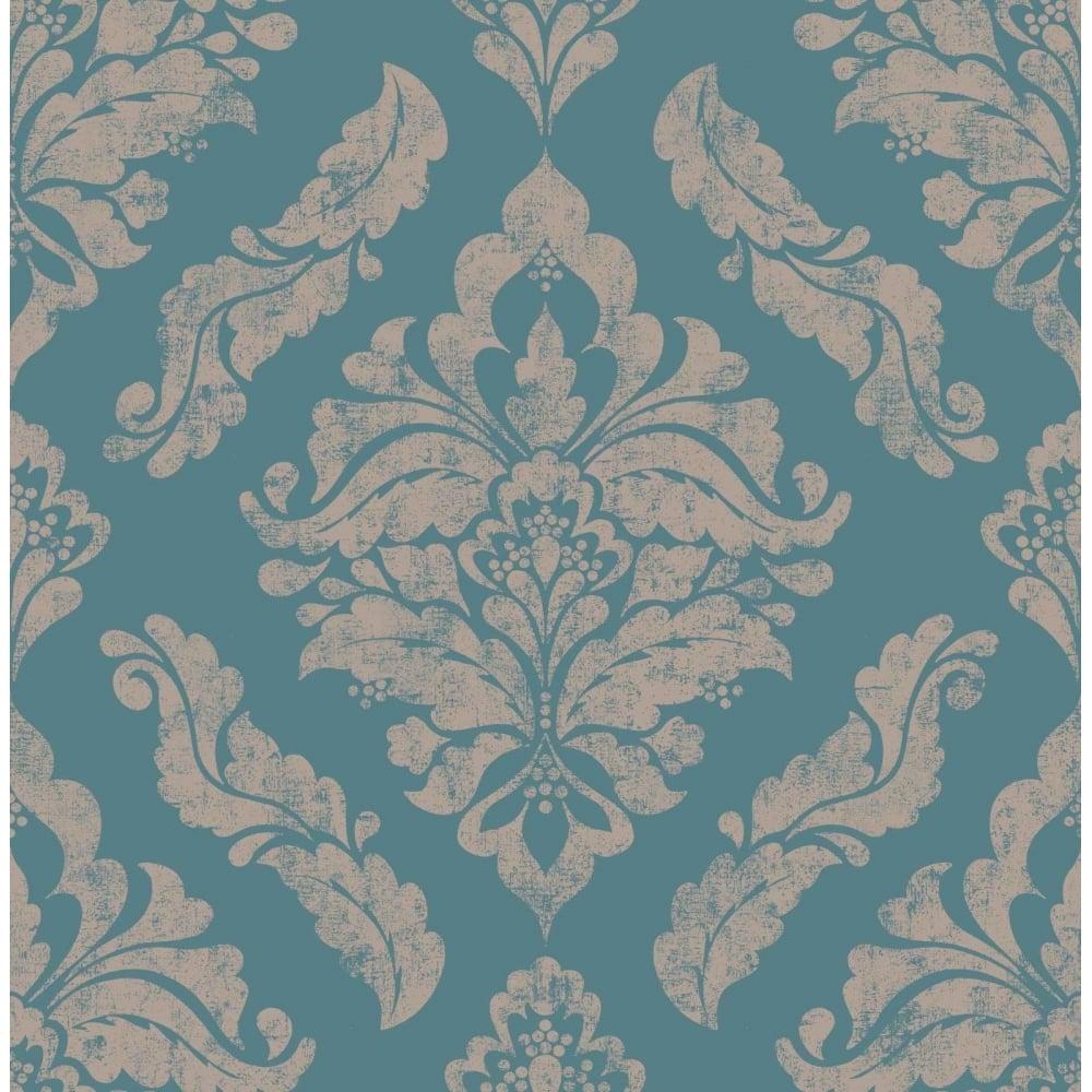 Graham Brown Damaris Turquoise And Copper Damask Wallpaper