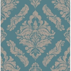 Damaris Turquoise And Copper Damask Wallpaper 104154