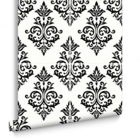 Damask Pallade Black And White Kitchen And Bathroom Tile Wallpaper 17167