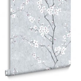 Floral Sakura Blue Pink And Silver Wallpaper 102958
