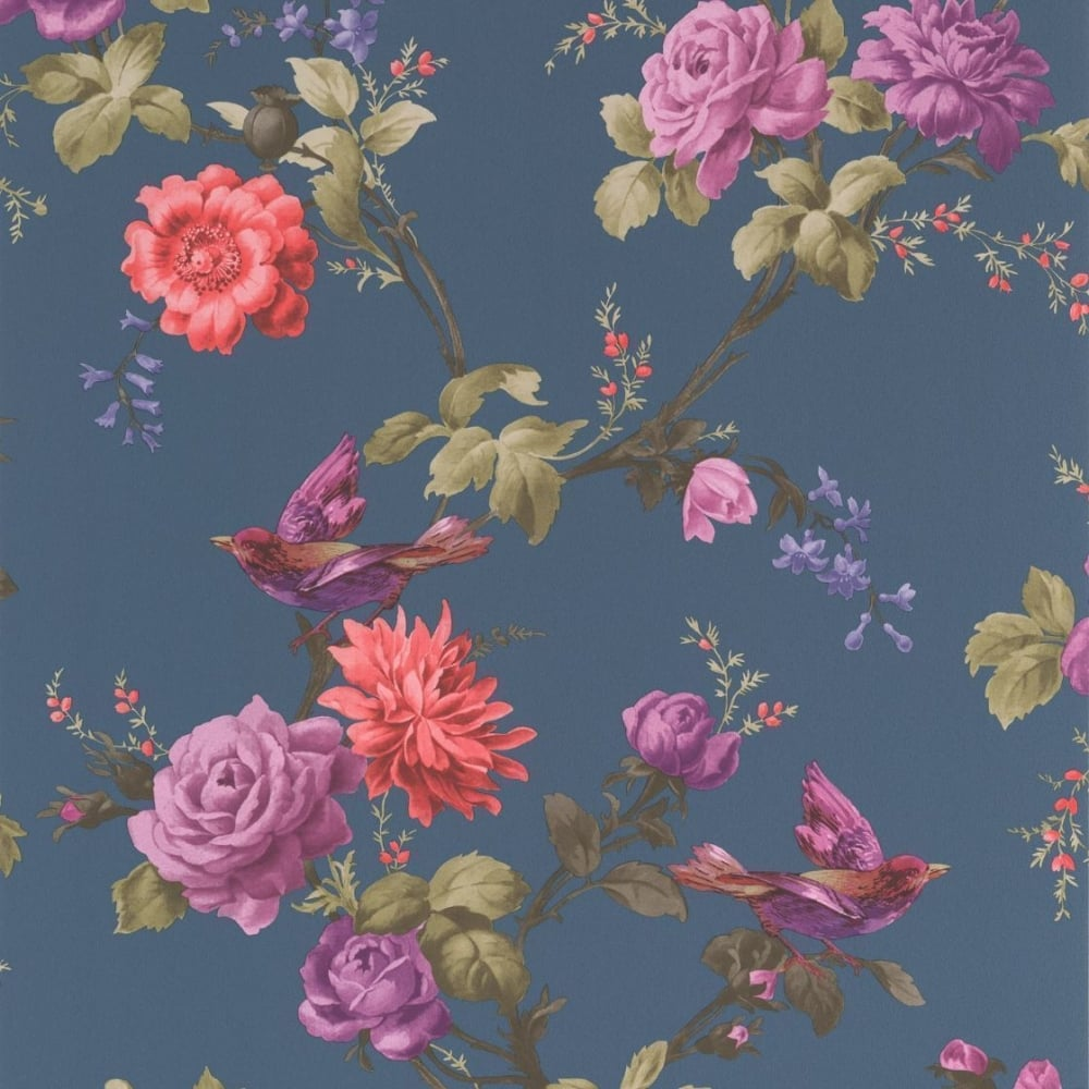 Graham And Brown Fresco Quirky Oriental Floral Blue Purple Red
