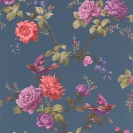 Fresco Quirky Oriental Floral Blue Purple Red Wallpaper 50-661