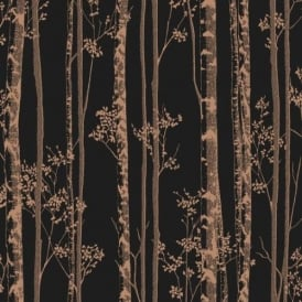 Linden Forest Trees Black And Rose Gold Wallpaper 100525