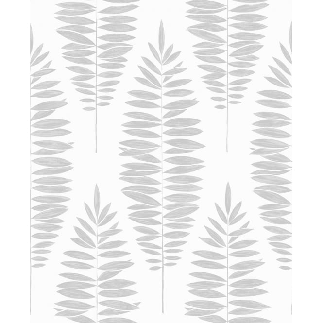 Graham And Brown Lucia Metallic White And Silver Tree Leaf Wallpaper 104142
