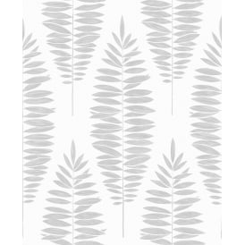 Lucia Metallic White And Silver Tree Leaf Wallpaper 104142