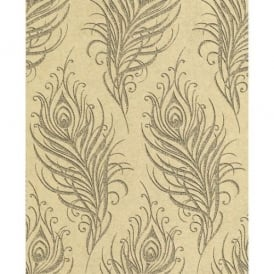 Quill Swaying Leaf Metallic Gold And Black Wallpaper 33-318