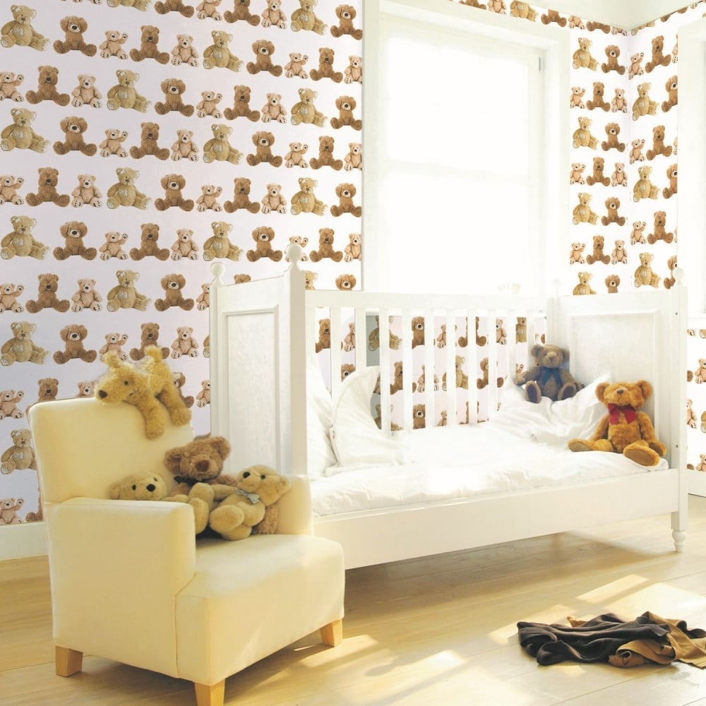 Teddy Bears Kids Girl Boy Nursery Bedroom Cute Wallpaper 102710