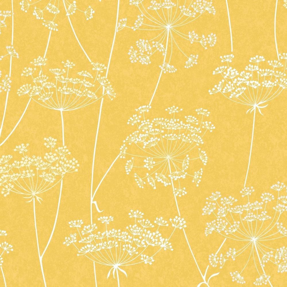 Graham Brown Aura Yellow Ochre Floral Wallpaper 105747