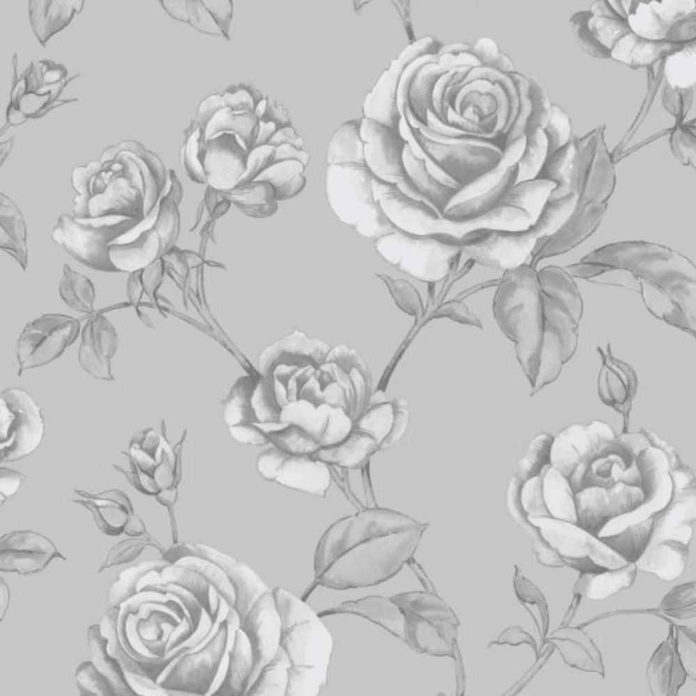 Graham Brown Boutique Countess Silver And Grey Roses Floral