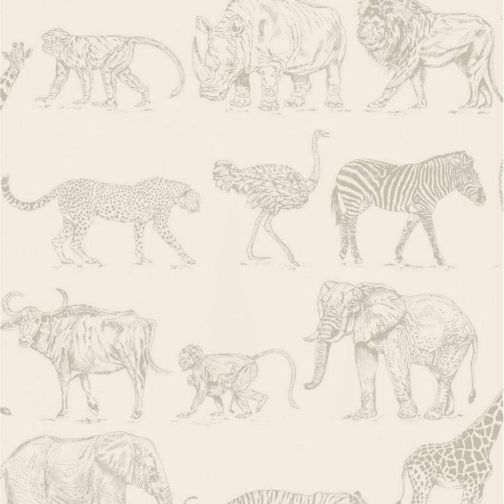 Boutique Safari Animals Cream Rose Gold Wallpaper 104894