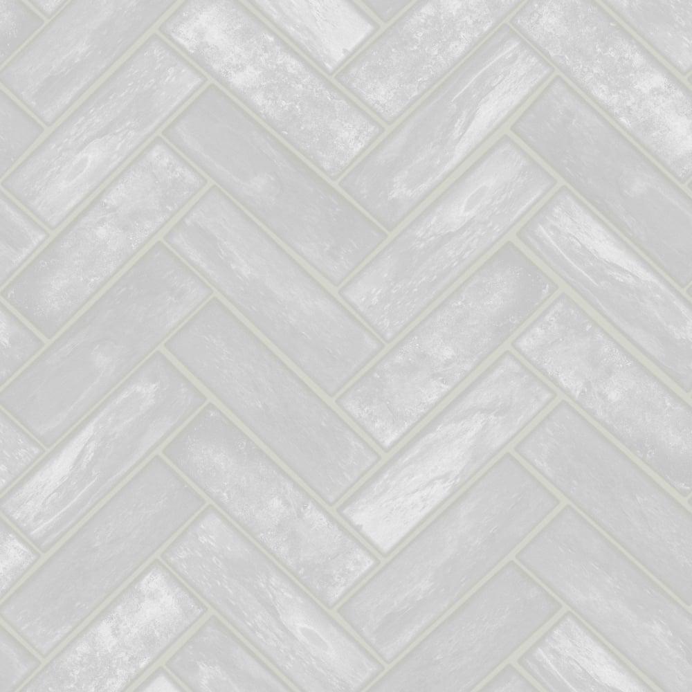 Graham Brown Contour Lustro Silver Herringbone Brick Gloss Kitchen