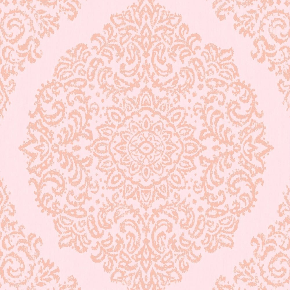 Florence Damask Blush Pink Metallic Rose Gold Wallpaper 106845
