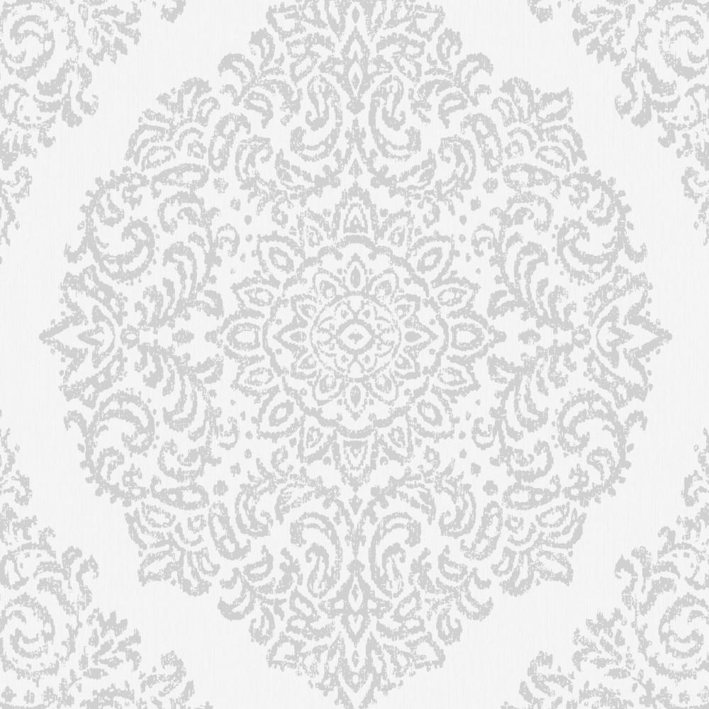 Graham Brown Florence Silver White Metallic Damask Wallpaper