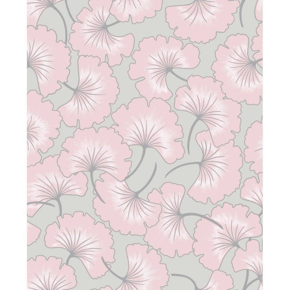 Graham Amp Brown Ginko Grey Amp Pink Floral Wallpaper 105983
