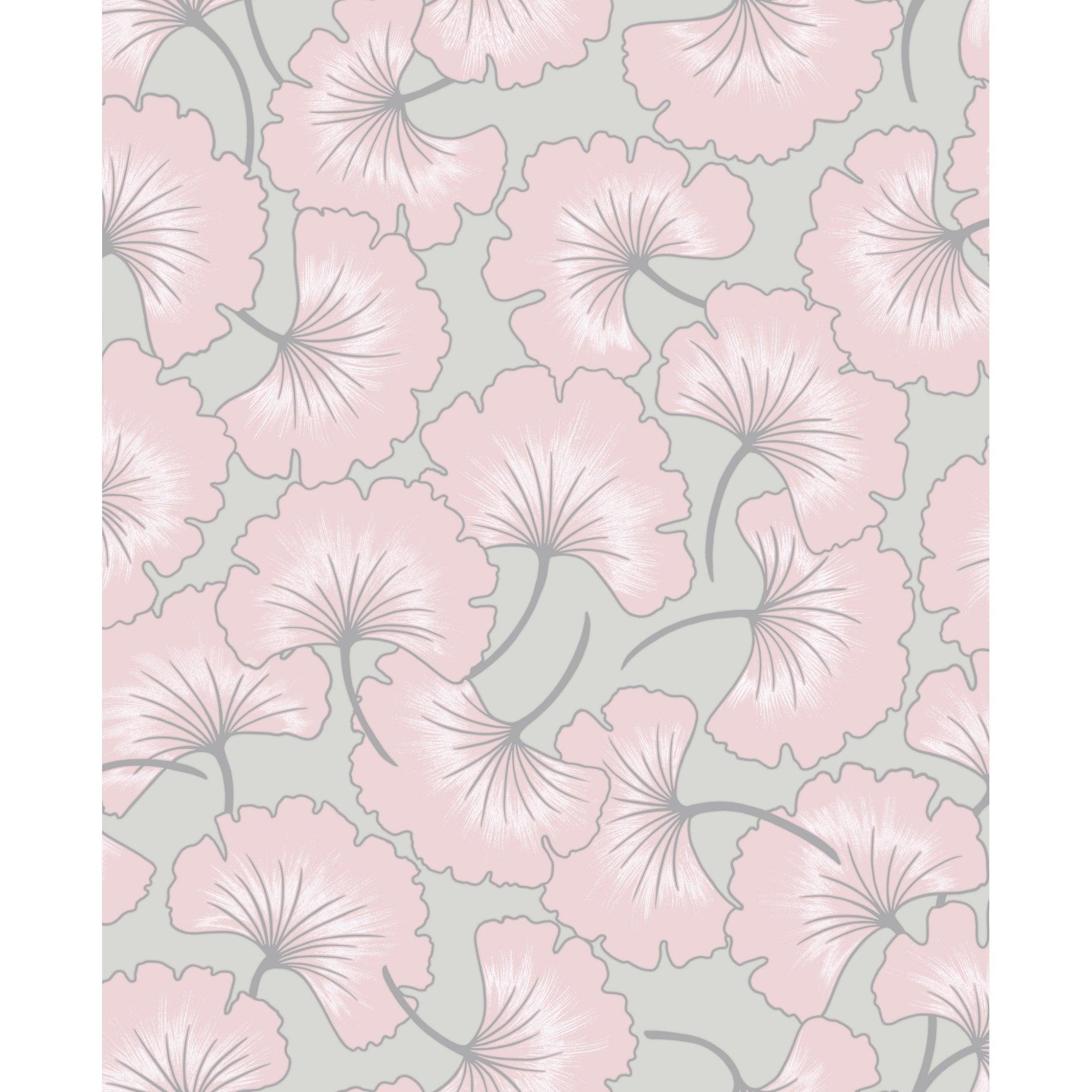 Graham Brown Ginko Grey Pink Floral Wallpaper 105983