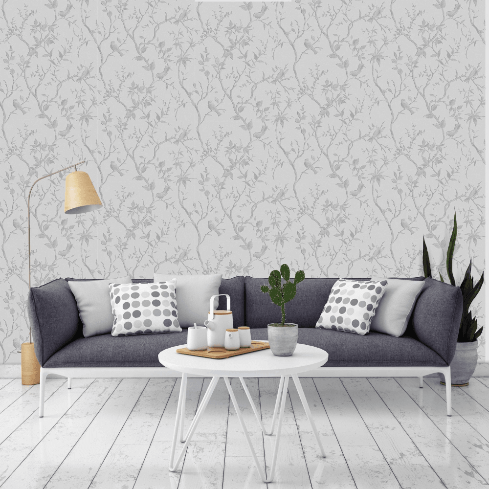 Graham Brown Laos Trail White And Silver Wallpaper 104125