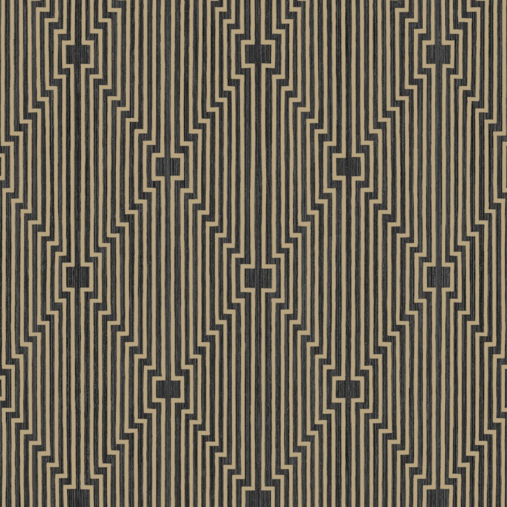 Graham \u0026 Brown L\u0027Art Black \u0026 Gold Geometric Art Deco Wallpaper 105986