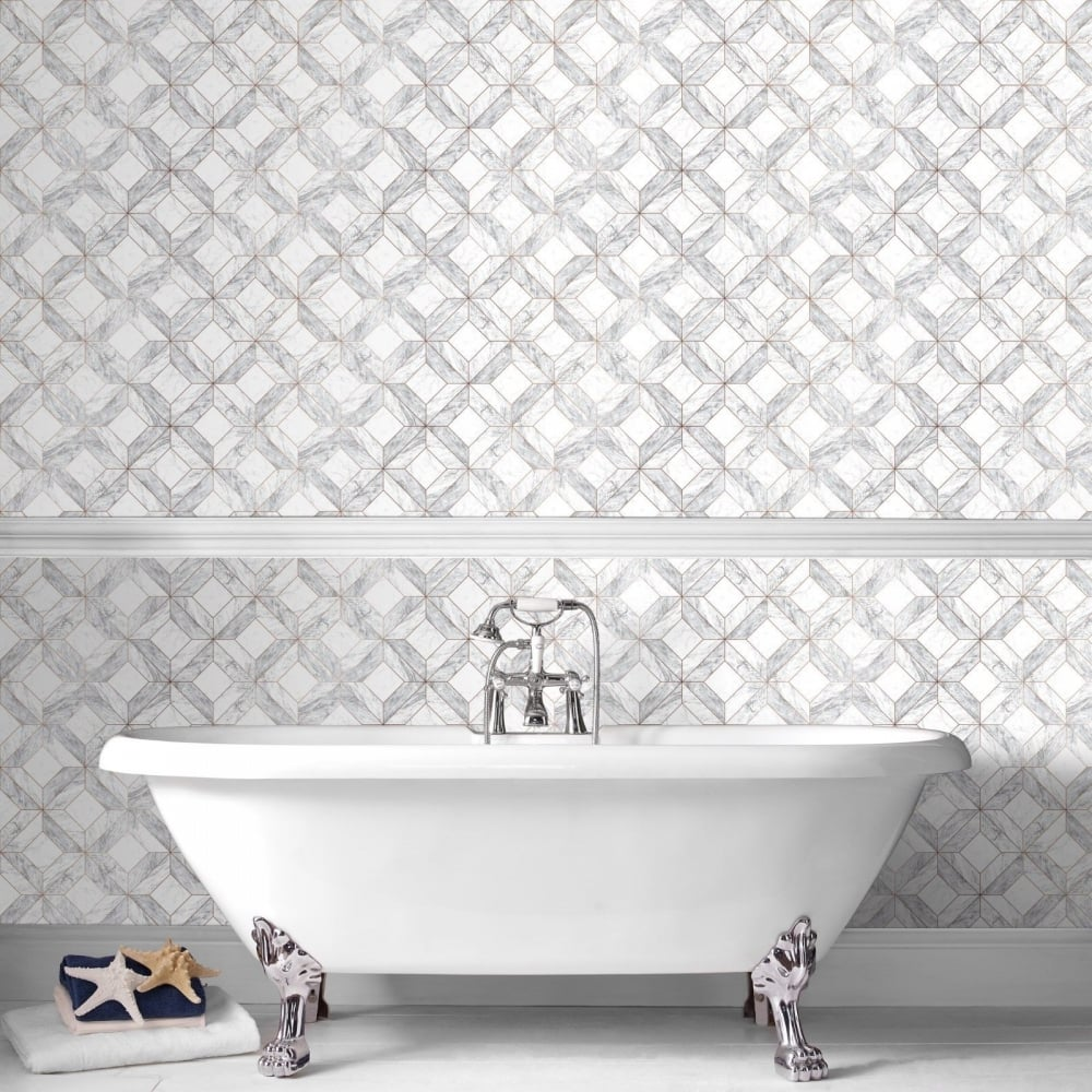 Graham Brown Marble Marquetry Grey Kitchen And Bathroom Wallpaper