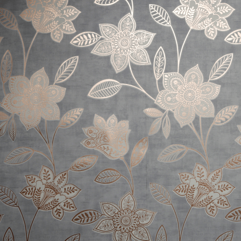 Milan Grey Rose Gold Fiorella Floral Wallpaper 106530